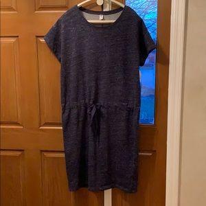 Blue - t shirt dress with drawstring waist